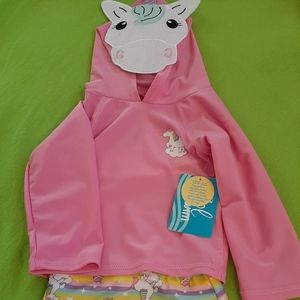 NEW Sol Swim Unicorn Rash Guard Swim Suit So Cute!